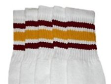 "25"" KNEE HIGH WHITE tube socks with MAROON/GOLD stripes style 3 (25-25)"