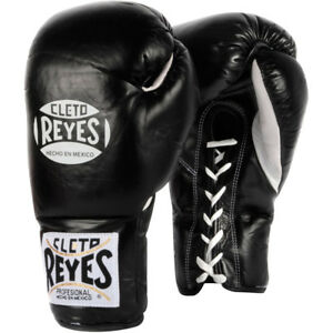 Cleto Reyes Official Lace Up Competition Boxing Gloves - Black