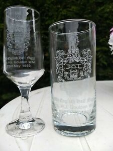2 VINTAGE MASONIC DRINKING GLASSES   HIS AND HERS HILLCLIFFE LODGE 8812 CREST