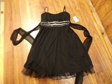 RUBY ROX Black Dance Party Dress Prom Beaded Spaghetti Strap Ladies XS NWT
