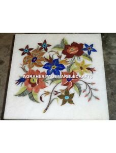 """15"""" Marble Coffee Table Top Floral Fine Inlay Arts Home Furniture Decor H4437A"""