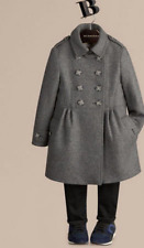 BURBERRY Children GIRL WOOL CASHMERE GRAY SKIRTED COAT - SZ 14Y - WOMEN XS - NWT