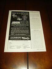 1962 JUDSON SUPERCHARGER MG-A TRIUMPH TR3 MERCEDES 190SL VW   ***ORIGINAL AD