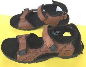 Earth Spirit Mens 12 Three Adj Straps Sport Hiking Brown Leather Sandals/Perfect