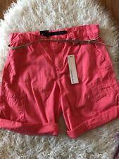 "NWT Womens Calvin Klein Coral Shorts Sz 8 Gold Belt 7.5"" Inseam Bermuda"