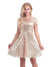 Womens Sequined Party Cocktail Bridesmaid Brides A-Line Skater Dress Evening #4