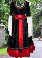 Renaissance Costume Medieval Sca Garb BloodSnowMidnightGold 2pc VelvetSatin