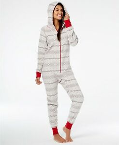 Family Pajamas Women's Hooded One-Piece PJ, Gray Winter Fairisle