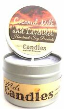 Coconut Milk and Lavender 4 ounce 100 Percent Soy Candle Tin. Handmade in the Us