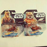 2014-Hot Wheels-2 Star Wars Character Cars-Wicket,Chewbacca-1:64-Boys-3+