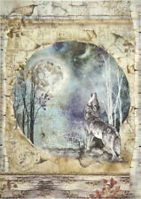 Rice Paper for Decoupage Scrapbook Craft Sheet Cosmos Wolf and Moon