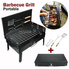 More details for charcoal bbq grill and utensils outdoor garden folding portable barbecue camping