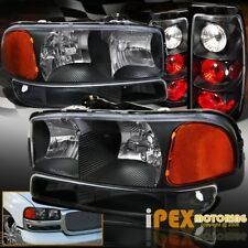 BLACK Set: 2004-2006 GMC Sierra 1500 2500 Headlights + Signal Light & Tail Light