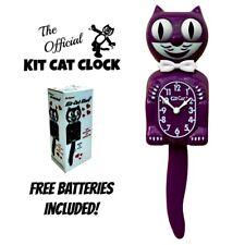 """Mora Kit Gato Reloj 15.5"""" Violeta Gratis Batería Hecho En Eeuu Kit-Cat Klock"""