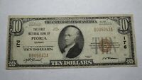 $10 1929 Peoria Illinois IL National Currency Bank Note Bill! Ch. #176 FINE!