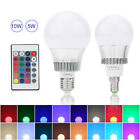 E14/E27 5W 10W RGB Color Changing Lamp LED Globe Light Bulb+IR Remote Controller