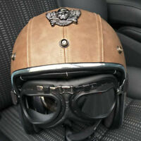 Skull Mark Retro Motorcycle Helmet Open Face w/Goggles Leather Cruiser Helmet L