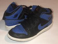 Nike Air Jordan 1 Mid Blue/Black/Orange 640734-048 Kids Youth Size 1.5Y