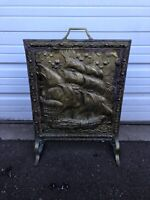 Antique Hammered Brass Fireplace Fire Screen With A Ship Vessel Nautical