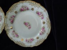 "#720 vtg ELITE WORKS Limouges 4 dessert DISH 7 3/4"" plates Flowers hand painted"