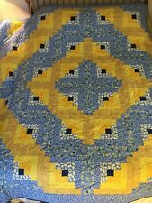 Home made Spring Quilt  90 x 90 Blues, Yellows, Daisies, Free Shipping