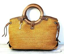 FOSSIL WOVEN STRAW BROWN GENUINE LEATHER TRIM WOOD HANDLES TOTE HANDBAG PURSE