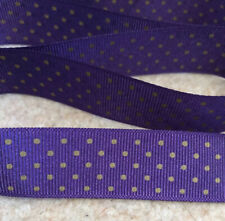 3 Metres Purple//Gold Polyester Wired Ribbon Cakes//Crafts 40mm