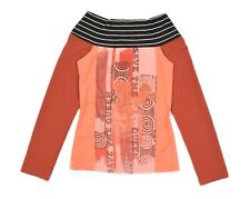 Womens Save The Queen Nylon Top Long Sleeve Printed Orange Size M