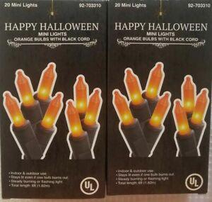 2 Sets Halloween Mini Light w/Black Cord 20 Bulbs Each Xtra Bulbs Orange