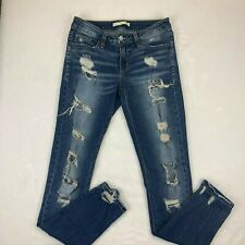 Daytrip Refired Lynx Skinny Blue Ripped Jeans size 27R