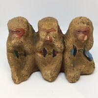 Vintage Wise Monkeys Figurine Made JAPAN Speak No Evil See No Evil Hear No Evil