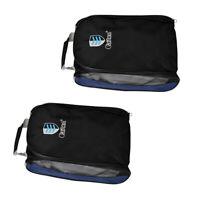 MagiDeal 2 Pieces Golf Shoes Bag Zipped Sports Bag Shoe Case - Black