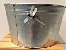 Galvanized Tub 7 1/2 x 12 With Dragon Fly On The Sides