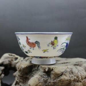 Chinese Jingdezhen  Chenghua Period Porcelain Blue and White Zodiac Cock Bowl