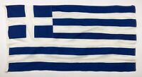 Vintage Sewn Cotton Nautical Greek Flag Handmade Greece Distressed Used Old 2x4