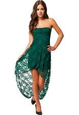 Knee Length Bandeau Lace Night Club Evening Dress Green Medium