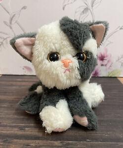 Tyco Kitty Kitty Kittens Purring Cat Vintage Soft Cuddly Toy Grey & White