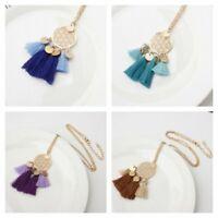 Women Necklace Hollow Alloy Long Pendant Chain Round Jewelry Tassel Boho Sweater