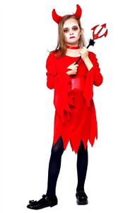 Girls Little Red Devil Costume Horns Kids Halloween Party Fancy Dress Outfit