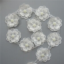 10x Flower Pearl Lace Edge Trim Wedding Ribbon Embroidered Applique Sewing Craft