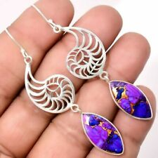 Vintage Silver Plated Turquoise Women Jewelry Dangle Anniversary Drop Earrings