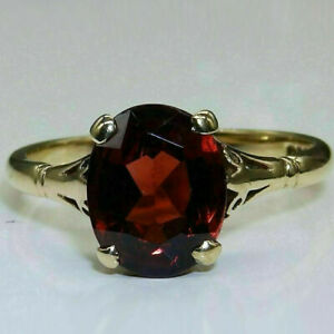 Sparkle Solitaire Engagement & Wedding Ring 14K Yellow Gold Filled 2.5 Ct Garnet