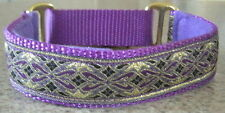 """1"""" METALLIC 10 color combos MARTINGALE COLLAR w LEAD WHIPPET GREYHOUND"""