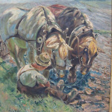 Bachem Gottfried 1866-1942 Bonn PFERDE Acker DÜSSELDORF  Landschaft Pferd Feld