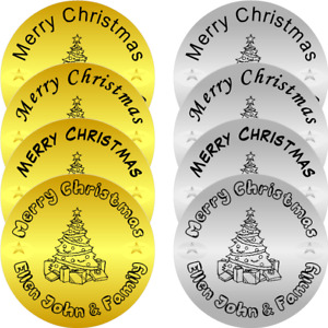 Personalised  Gold & Silver Christmas Seals / Stickers round Labels Merry Xmas