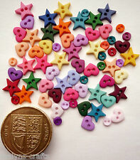 MICRO MINI SHAPES MULTI Craft Buttons 1ST CLASS POST Baby Small Hearts Doll Tiny