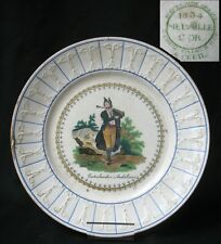 1834 ASSIETTE CREIL RARE SIGNATURE SAINT CRICQ CONTREBANDIER CHASSE HUNT ESPANA
