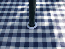 1.4x2.5m BLUE GINGHAM CHECK OVAL OILCLOTH / PVC WITH PARASOL HOLE - 8 SEAT