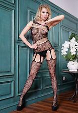 Bodystocking sexy donna catsuit lingerie intimo Tuta nera aperta al cavallo