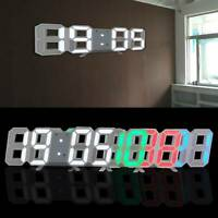 3D Large LED 24 Digital Table Wall Clock Large Display Alarm Clock Brightness UK